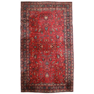 RugsinDallas Antique Hand Knotted Wool Persian Mashad Rug - 11′8″ × 20′7″ For Sale