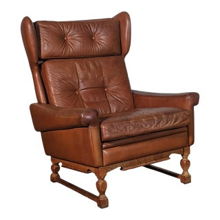 Mid Century Retro Danish Skippers Styled Tan Leather Lounge Chair For Sale