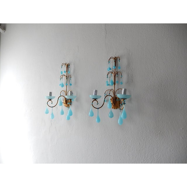 1920s French Blue Opaline Bobeches Drops & Beads Sconces - a Pair For Sale - Image 11 of 12