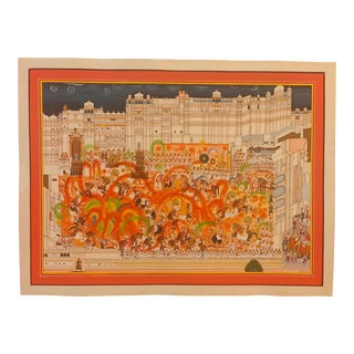 Hand Painted Holi Festival Scene Detailed Indian Miniature Painting Vasli Paper and Art Work For Sale
