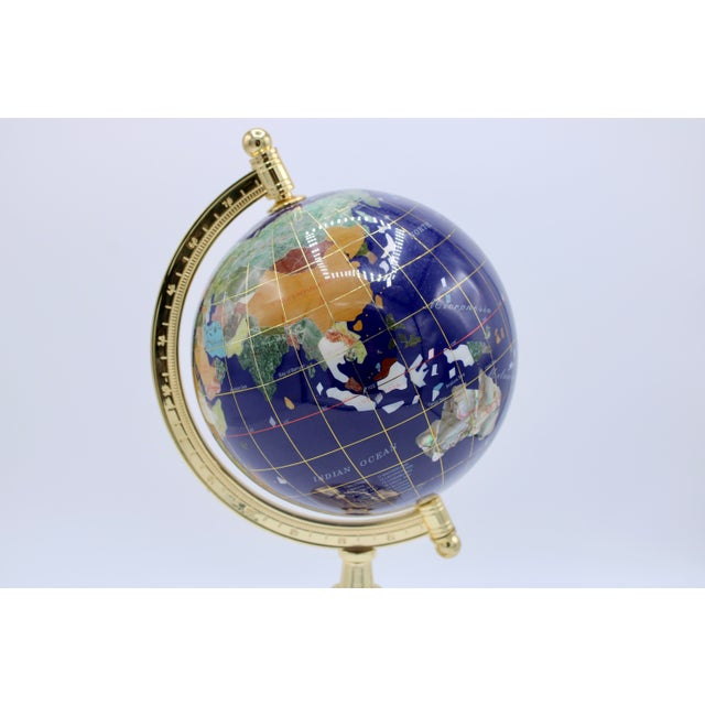Vintage Blue Lapis World Gold With Semiprecious Gems on Brass Stand For Sale - Image 9 of 13