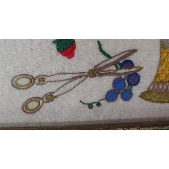 American Vintage Embroidered Bird on Fruit Basket, Original Frame For Sale - Image 3 of 5
