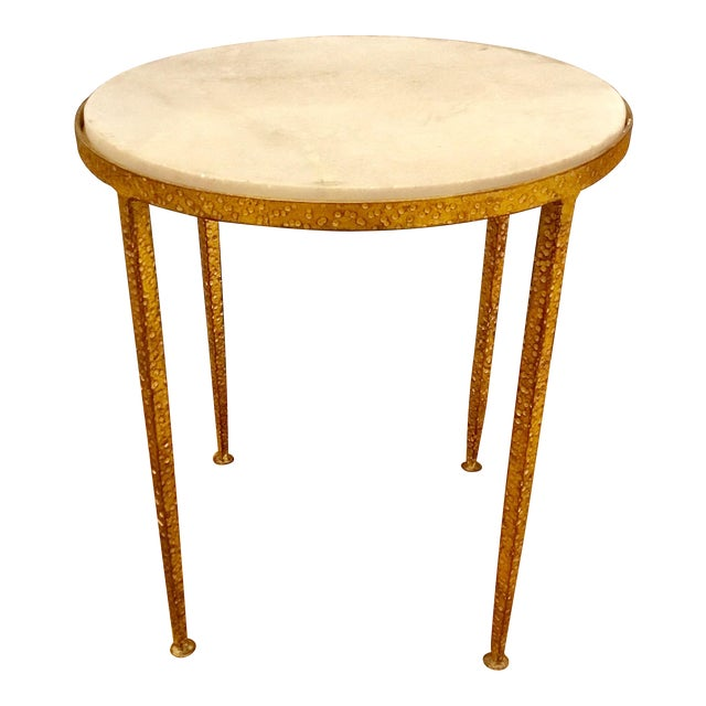 Arteriors Round Hammered Metal Table For Sale