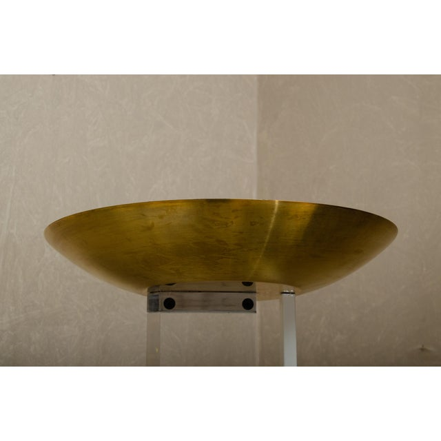 Mid-Century Lucite Torcheres With Brass Domes - a Pair For Sale In New York - Image 6 of 8
