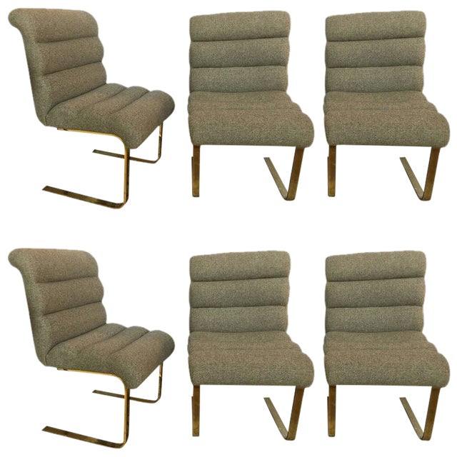 Hollywood Regency Brass Base Dining Chairs - Set of 6 For Sale