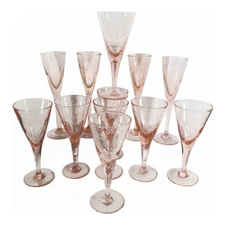 Shabby Chic Rustic Pink Hand Blown Bubble Glasses - Set of 12 Champagne Water Wine Party Shower Glasses For Sale