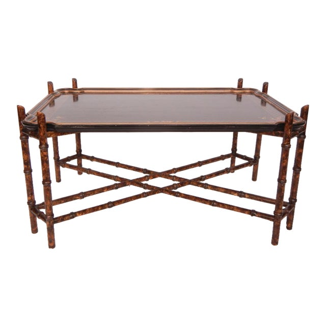 1950's Vintage Baker Faux Bamboo Coffee Table For Sale