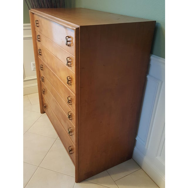 This is a beautiful Paul Frankl 7 drawer chest, made for Johnson Furniture Co. This hard to find piece has a nice...