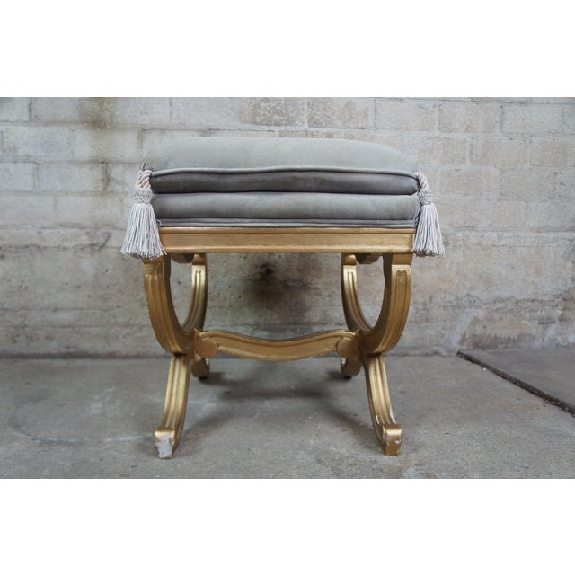Vintage French Empire Regency Style Gold Vanity Stool For Sale - Image 10 of 13