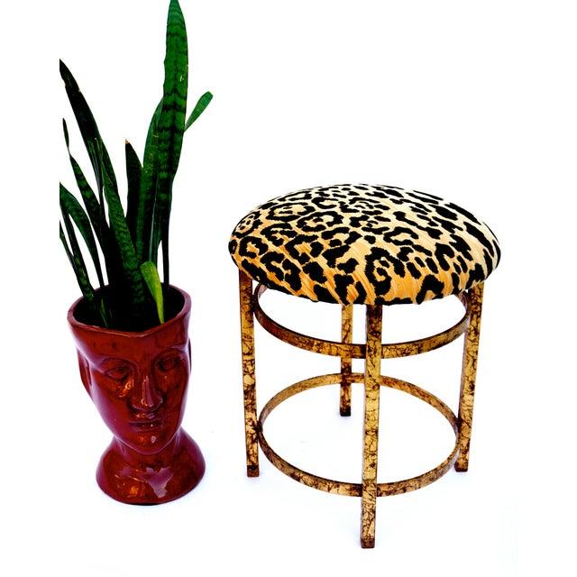 Vintage Italian Gold Gilt & Leopard Velvet Vanity Accent Stool - Image 6 of 7