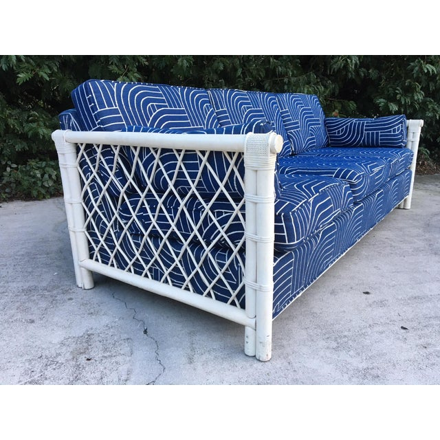 Boho Chic Bamboo Rattan Mid Century Tuxedo Sofa in the Manner of Ficks Reed For Sale - Image 3 of 8