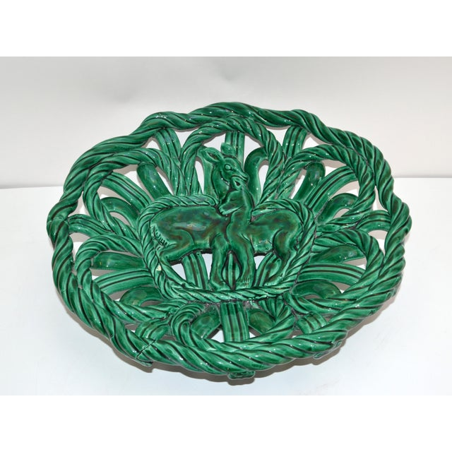 Ceramic Vallauris France Glazed Woven Ceramic Basket Emerald Green Bambi 1955, Pottery For Sale - Image 7 of 13