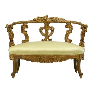 19th Century Antique Italian Giltwood Settee For Sale