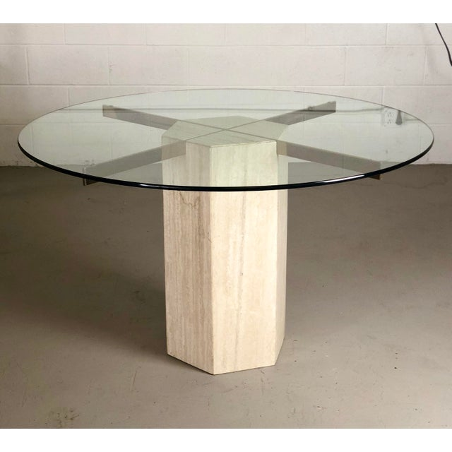 1980s Modern Artedi Round Travertine Stone and Glass Dining Table For Sale - Image 9 of 9