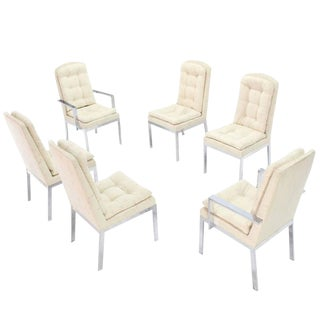 Set of Six Chrome and Upholstery Dining Chairs For Sale