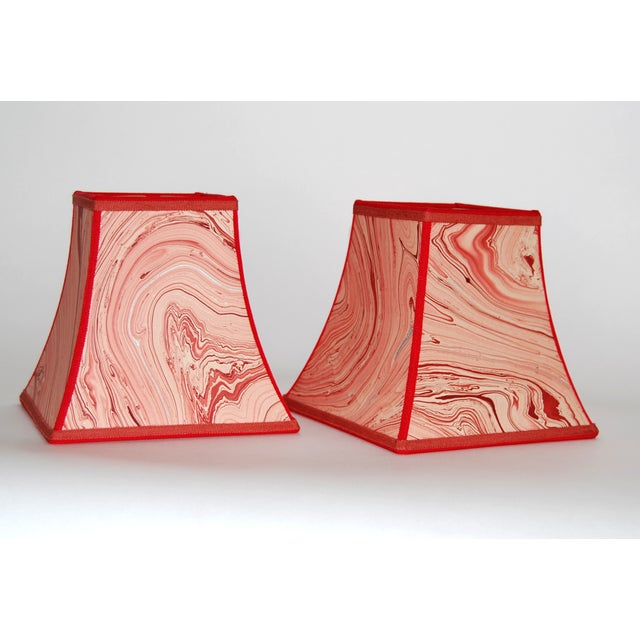 Red Marble Square Bell Lampshades - Pair - Image 2 of 4