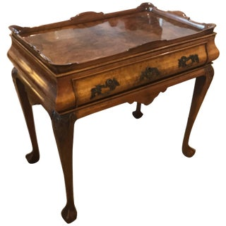 Queen Anne Walnut Gallery Top Tea Table For Sale