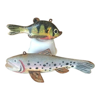 Early 20th Century Hand Crafted Folk Art Fish Decoys - Set of 2 For Sale