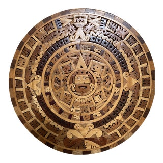 Vintage Carved Wood Inlay Aztec Style Calendar Wall Art For Sale