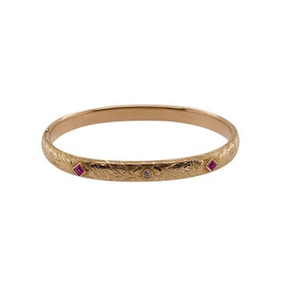 Art Nouveau 14k Gold Diamond Ruby Bangle Bracelet For Sale