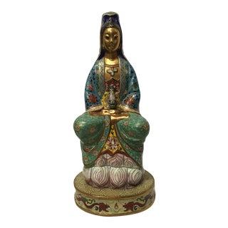 Vintage 1940s Cloisonné Kwan-Yin GuanYin Statue / Figurine For Sale