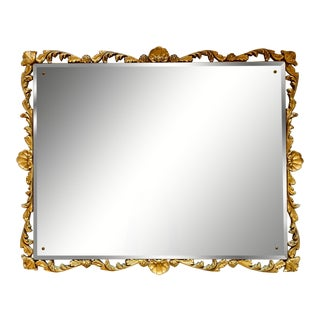 Carved Pierced Large Gilt-Wood Framed Beveled Wall Mirror For Sale