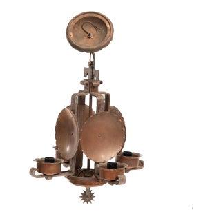 Vintage w.r. Dallas Copper Four Light Chandelier For Sale