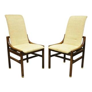 Henredon Mid Century Modern Oak Wood & Brass Modern Dining Side Chairs - a Pair For Sale