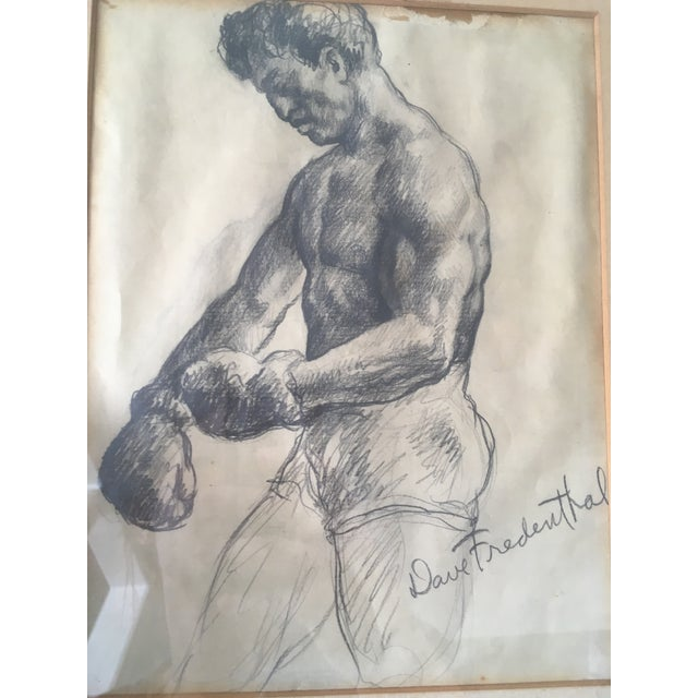 """Realism Vintage Original """"Boxer, Portrait, Card Game"""" Drawings by David Fredenthal - Set of 3 For Sale - Image 3 of 11"""
