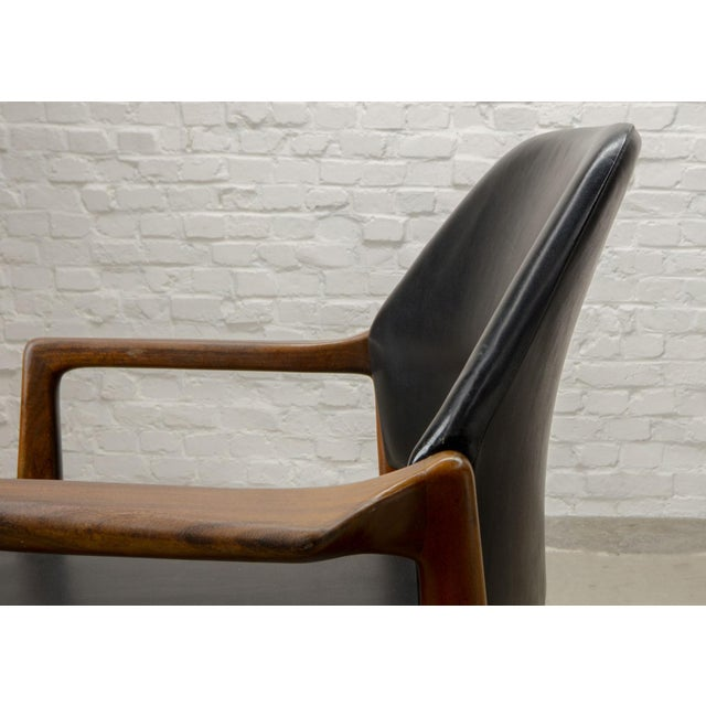 Animal Skin Mid-Century Scandinavian Design Teak Wood and Leather Side / Desk Chair, 1960s For Sale - Image 7 of 11