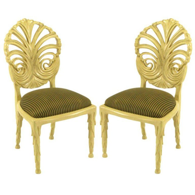 Pair Phyllis Morris Ivory Glazed Carved Side Chairs For Sale - Image 10 of 10