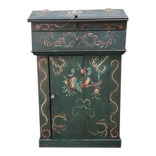 Early 19th Century Dutch Folk Art Painted Cupboard W/ Upper Drawer C.1820s For Sale
