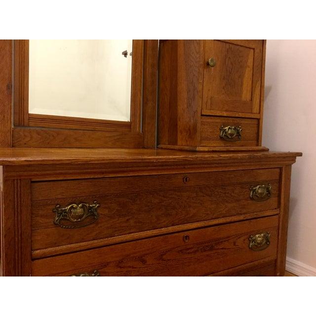 Antique Carved Oak Dresser with Mirror - Image 4 of 4