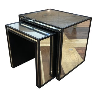Strand Mirrored Nesting Side Tables For Sale