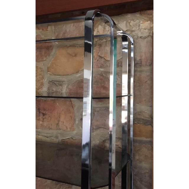 1970s Milo Baughman Chrome and Smoked Glass Etagere For Sale - Image 5 of 9