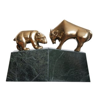 Vintage Art Deco Bull and Bear Bookends - A Pair