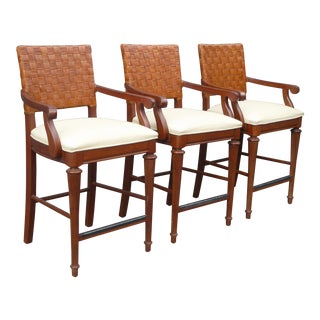 Stanley Furniture Palm Beach Style Rattan Bar Stools - Set of 3 For Sale