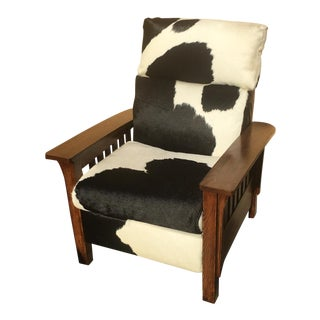 1990s Vintage Lane Furniture Mission Style Cowhide Recliner