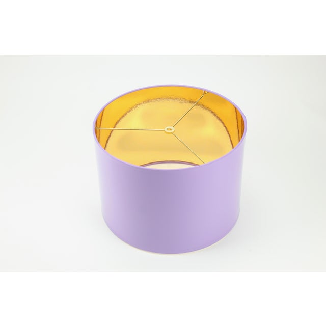 Lavender HIgh Gloss Lavender Drum Lamp Shade With Gold LIning For Sale - Image 8 of 8