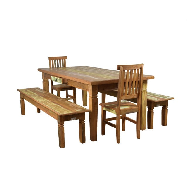Reclaimed Wood Dining Set For Sale - Image 10 of 10