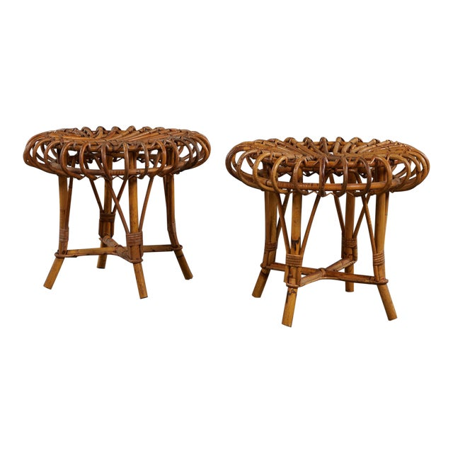 A Petite Pair of Sculptural Rattan Stools For Sale