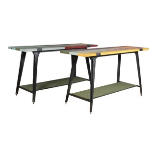 Industrial Painted Canvas-Wrapped Console Tables - A Pair For Sale