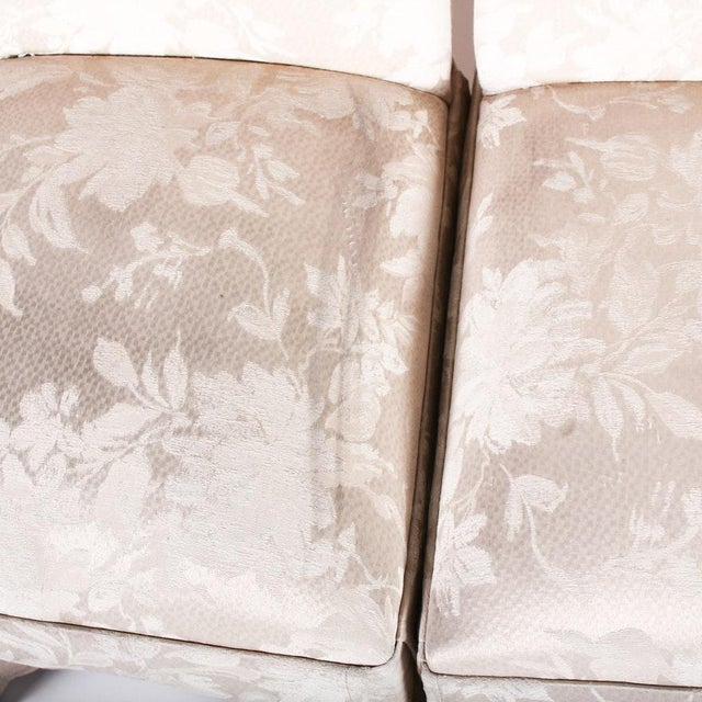2000 - 2009 Contemporary Off White Upholstered High Back Skirted Parsons Chairs - a Pair For Sale - Image 5 of 9