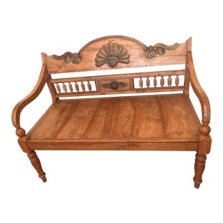 Hand-Carved and Painted Wood Bench with Colonial Style Turned Legs