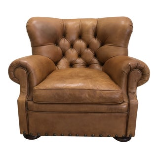 Ralph Lauren Leather Writer's Wing Chair For Sale
