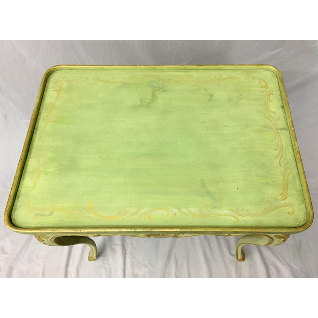 20th Century Louis XV Green Painted and Parcel Gilt Side Table For Sale In New York - Image 6 of 7