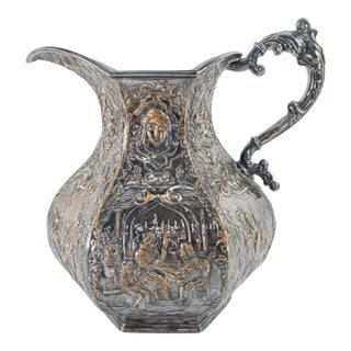 Late 19th Century Victorian Shakespearean Silver Plate Water Pitcher For Sale