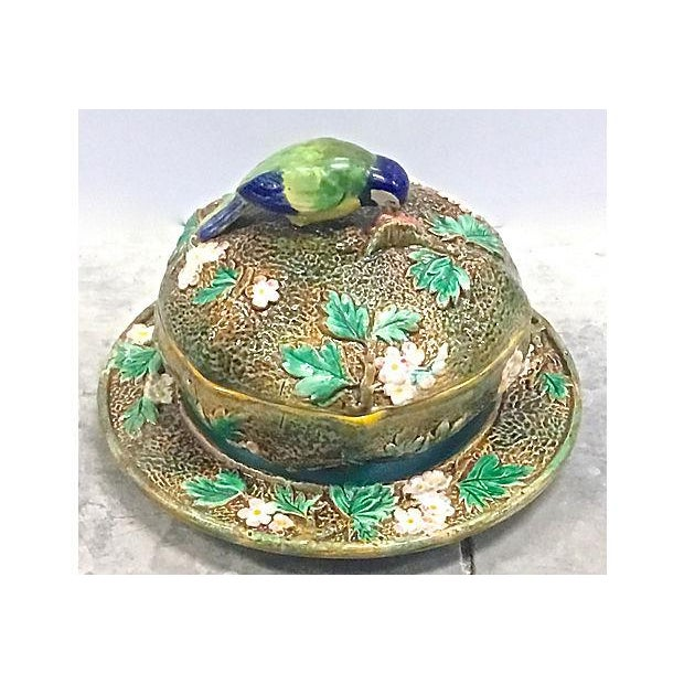 English Traditional Antique George Jones Majolica Muffin Dish For Sale - Image 3 of 13