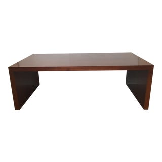 Mahogany Waterfall Cocktail Table in Polished Wood Mid-Century Minimalism For Sale