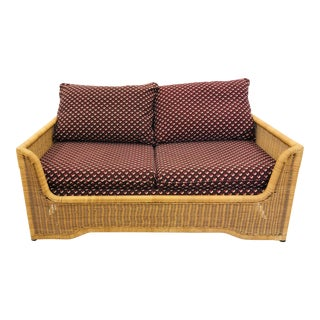 Vintage Woven Wicker Love Seat Sofa by Founders For Sale